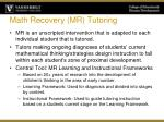math recovery mr tutoring