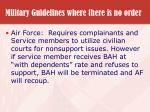 military guidelines where there is no order