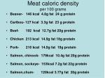 meat caloric density per 100 grams