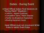 duties during event