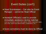 event duties con t