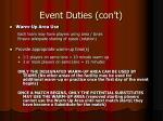 event duties con t20