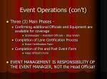 event operations con t