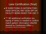 lane certification final