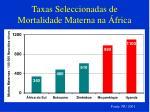 taxas seleccionadas de mortalidade materna na frica