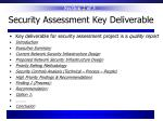 security assessment key deliverable