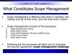what constitutes scope management