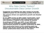 why data center trailers unsustainable data center growth