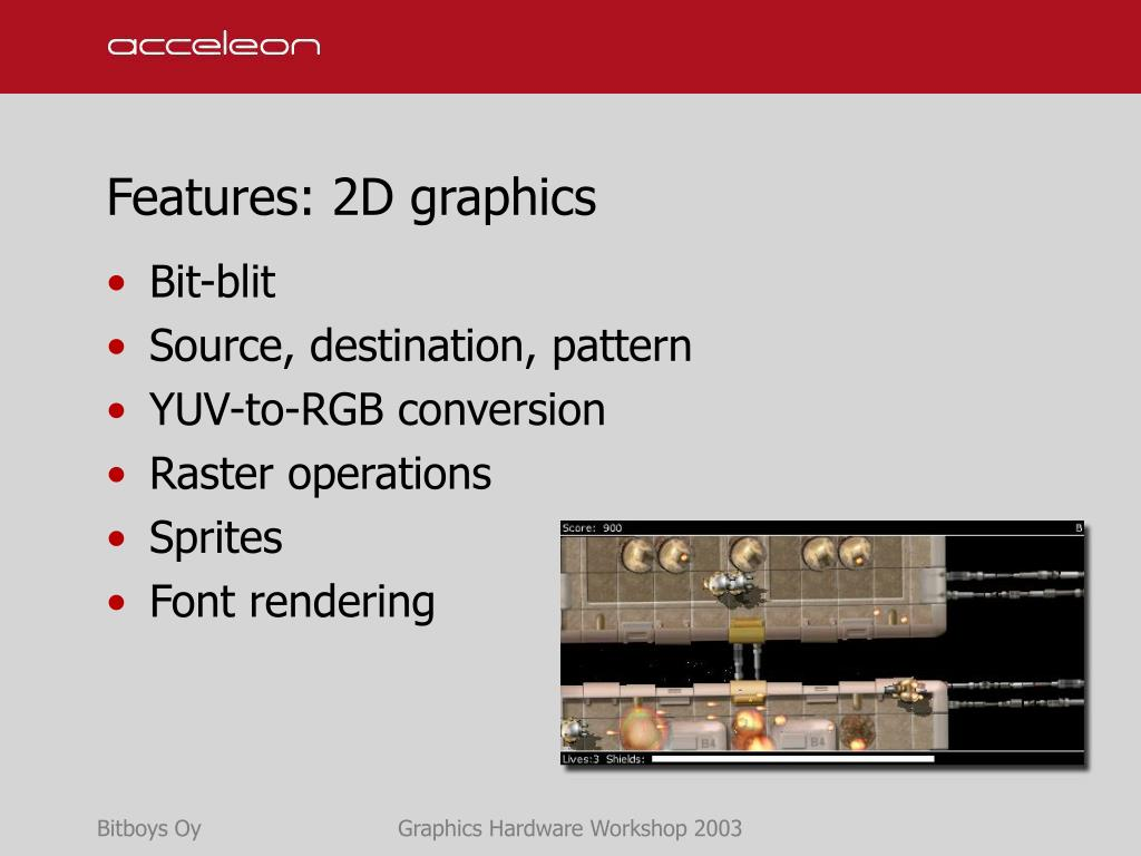 Features: 2D graphics