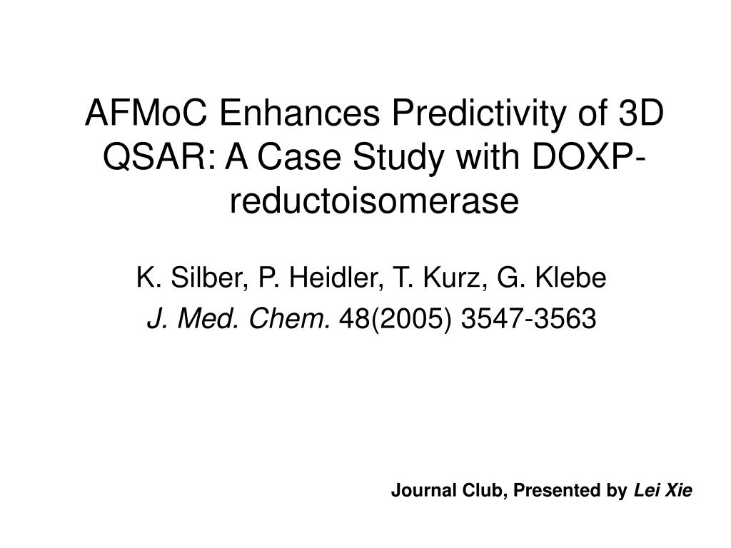 afmoc enhances predictivity of 3d qsar a case study with doxp reductoisomerase l.