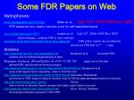 some fdr papers on web