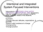 intentional and integrated system focused interventions