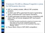 conclusion class is a human competitive system for sat heuristic discovery