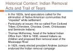 historical context indian removal acts and trail of tears