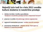 najve ji izziv tudi e v letu 2011 uvedba kulture dodatne in navzkri ne prodaje