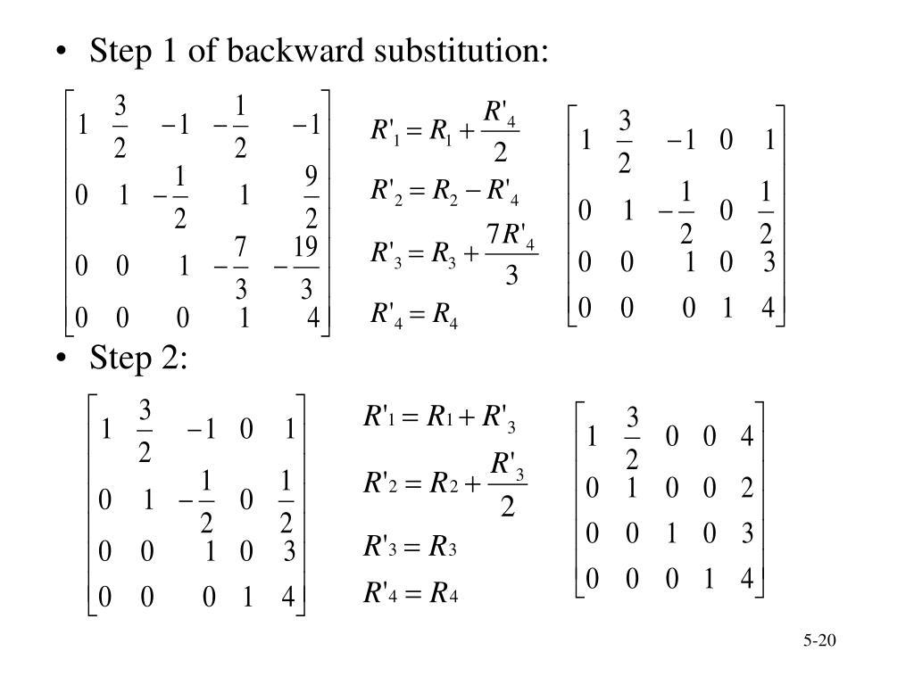 Step 1 of backward substitution: