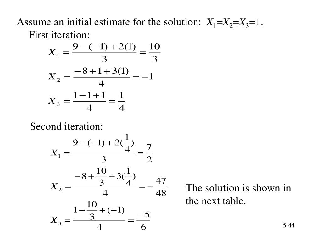 Assume an initial estimate for the solution:
