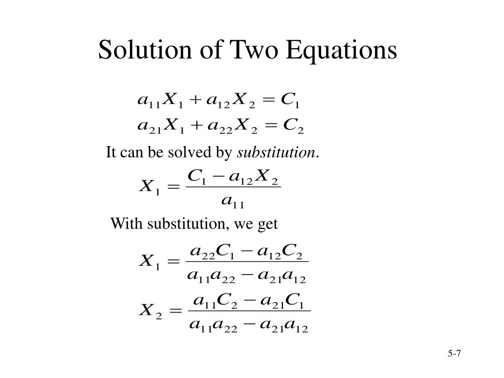 Solution of Two Equations