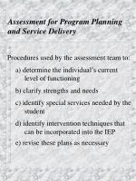 assessment for program planning and service delivery