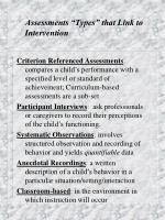 assessments types that link to intervention