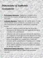 dimensions of authentic assessment