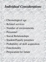 individual considerations