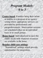 program models 0 to 3