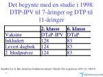 det begynte med en studie i 1998 dtp ipv til 7 ringer og dtp til 11 ringer