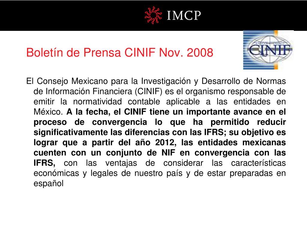 Boletín de Prensa CINIF Nov. 2008
