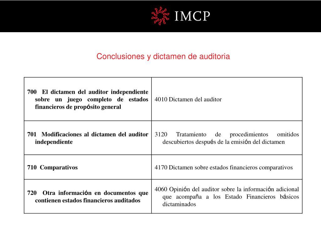 Conclusiones y dictamen de auditoria