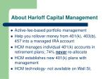 about harloff capital management