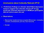 conclusions about culturally relevant ipt b