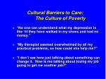 cultural barriers to care the culture of poverty