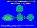 introduction the bio psycho social formulation of depression