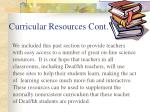 curricular resources cont