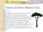 science activities manual cont