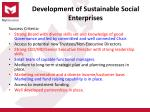 development of sustainable social enterprises