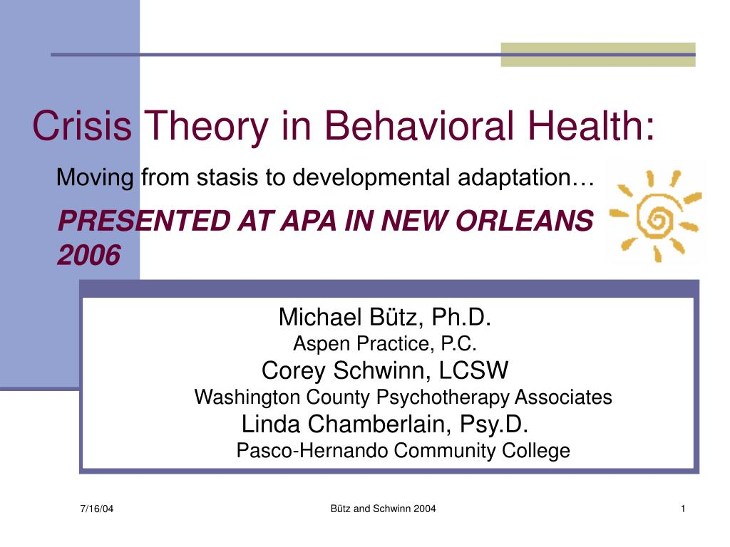 crisis theory in behavioral health l.