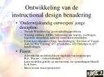 ontwikkeling van de instructional design benadering