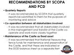 recommendations by scopa and pcd