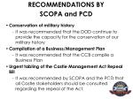recommendations by scopa and pcd17