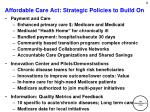 affordable care act strategic policies to build on