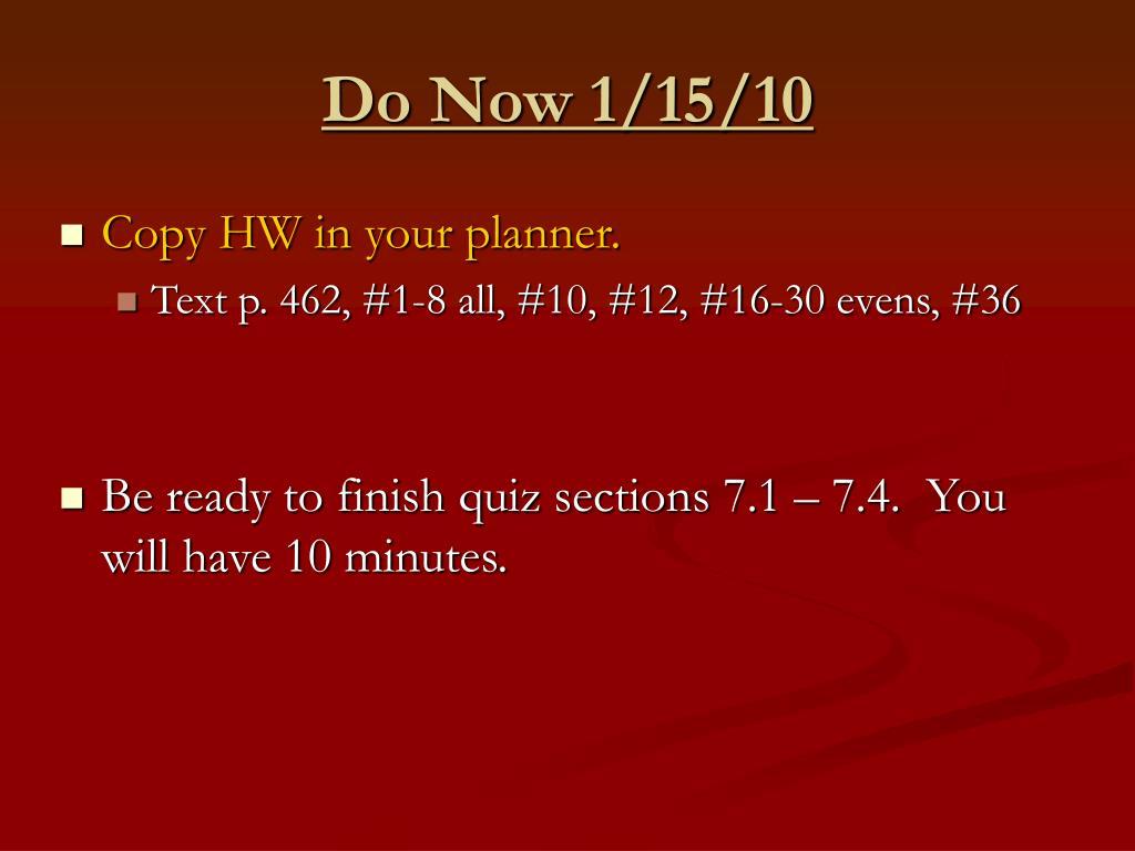 do now 1 15 10 l.