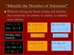 identify the number of solutions