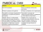 pmbok vs cmm