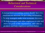 behavioral and technical considerations