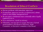 resolution of ethical conflicts