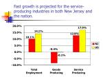 fast growth is projected for the service producing industries in both new jersey and the nation
