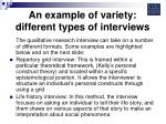an example of variety different types of interviews