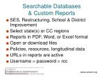 searchable databases custom reports